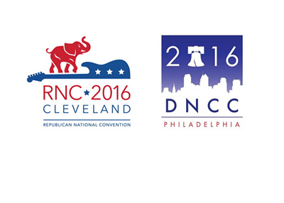 The Republican National Convention 2016 and the Democratic National Convention 2016 - Event logos