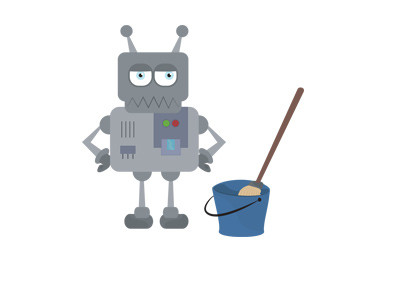The illustration of a robot cleaner with an unimpressed expression on his face.  Standing next to a mop in a bucket.