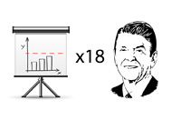 Illustration of Ronald Reagan and the debt ceiling increases