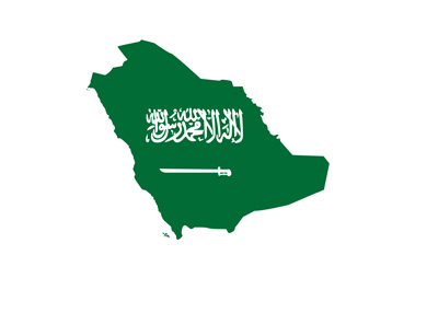Saudi Arabia map with coat of arms / flag displayed on it