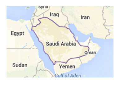Saudi Arabia on the world map