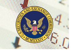 sec logo - securities and exchange commission - on top of stock chart - down
