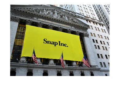 The yellow banner on the NY Stock Exchange building.  Snap Inc.