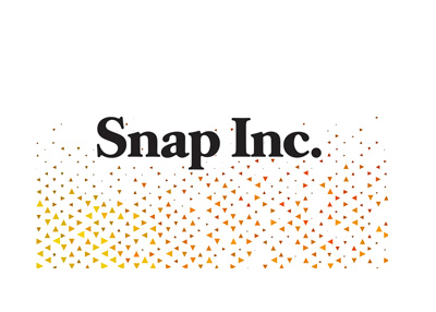 Snap Inc. Logo with a triangle pattern background. Year is 2018.