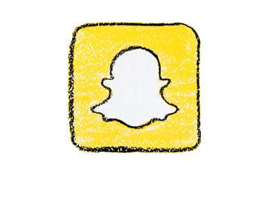 Snapchat logo drawing - Black, white and yellow colours.