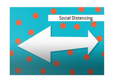 The illustration of the newly popular term - Social Distancing.  What is the meaning of it?