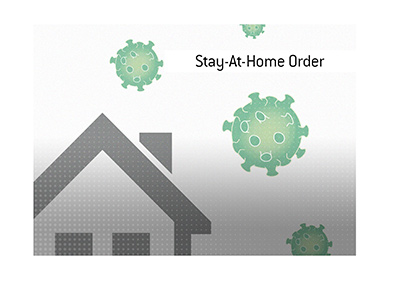 Dave explains the meaning of the Stay-At-Home-Order.  Illustrated is a home sheltering the population from the viral outbreak.