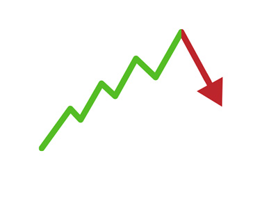Stock market chart illustration - Up up and then down