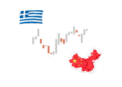 Stock market chart - Influenced by Greece and China - Illustration