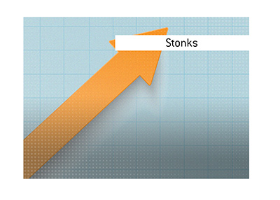 The meaning of the financial term Stonks.  Stock market dictionary.