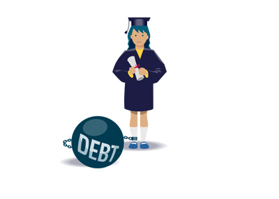 Student loan debt - Illustration / drawing - Female graduate with ball and chain.