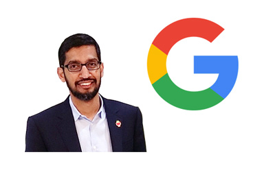 Sundar Pichai isolated on white next to the Google G logo.  Year is 2017.