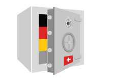 -- Illustration of a Swiss safe with German funds inside it --