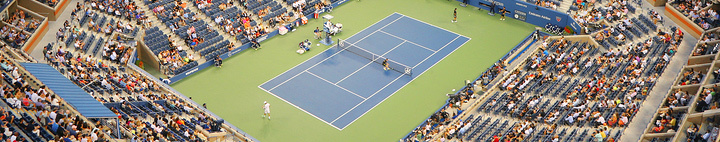 Tennis stadium during action.  A visual to go with the article on Tennis Betting
