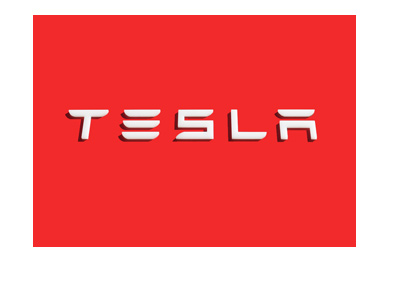 Tesla Inc. company logo on a building.  White on red.  The year is 2017.
