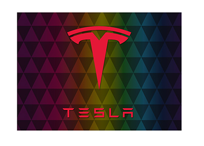 Tesla logo on a pattern triangle background.