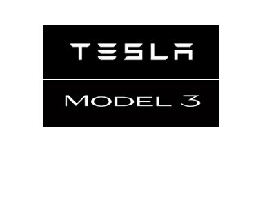 Tesla Model 3 - Logo - White lettering on black background.