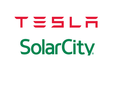 Tesla and Solar City - Company logos as they were in June of 2016