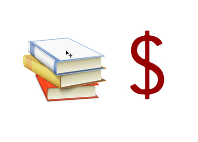 The high cost of college textbooks - Concept photo / illustration