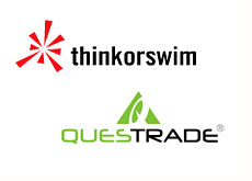 reviews of online brokers - thinkorswim and questrade company logos