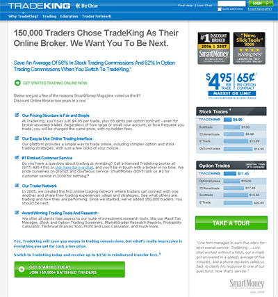 website screenshot tradeking.com