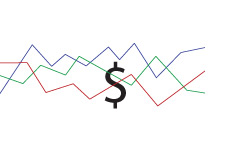 -- Forex trading chart with the dollar sign in the background - illustration --