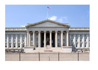 The Department of the Treasury Building - United States - Washington - Clear, Sunny Day