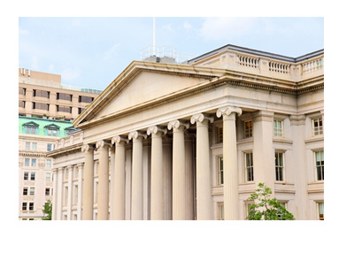 United States Treasury Department - Clear Day - Photo taken from behind the gate
