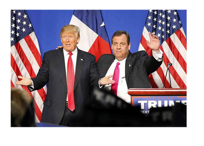 Donald Trump and Chris Christie at the speaking podium. - Twitter photo