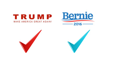 Donald Trump and Bernie Sanders. Red and green check mark. mock-up