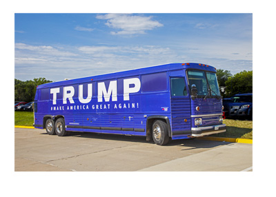 Donald Trump blue presidential elections campaign bus - 2015