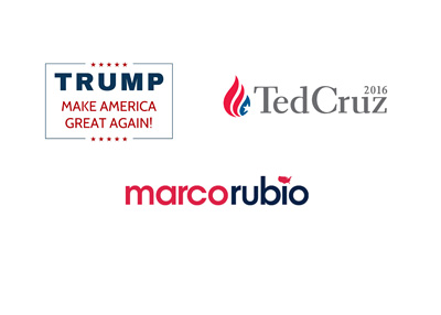 Donald Trump, Ted Cruz and Marco Rubio - 2016 presidential elections logos