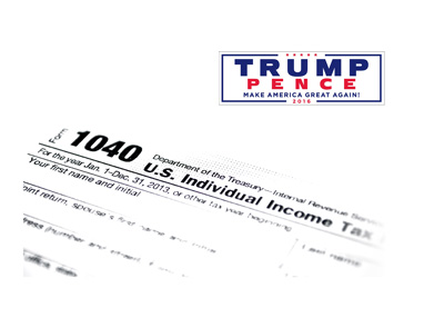 The 1040 tax form document next to Trump - Pence 2016 logo