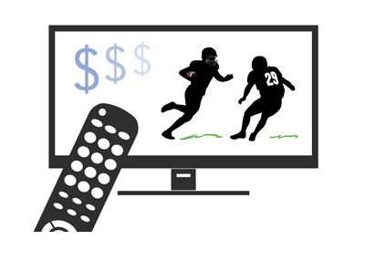 TV set with football on it.  Remote control pointing to it.  Dollar sign (ratings) is in the corner of the screen.