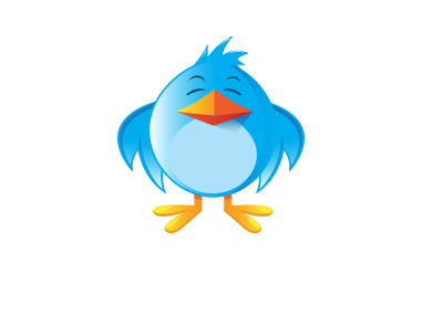The twitter blue bird is displeased.  Cartoon / illustration
