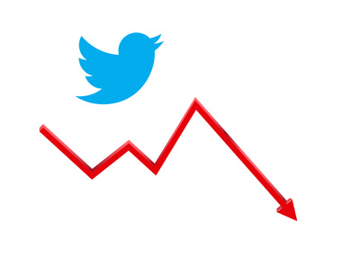 Twitter stock - up and down - Illustration / Company logo