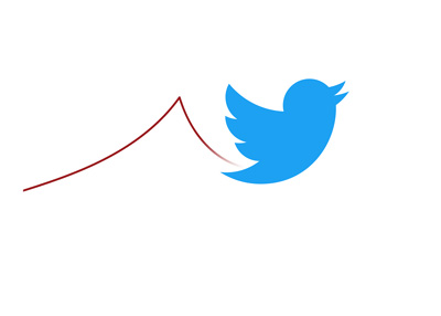 Twitter stock price going up and down.  Illustration.  Concept.