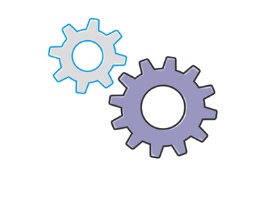 Illustration / drawing of two cogs interlocked.  They represent the economy and the job market.