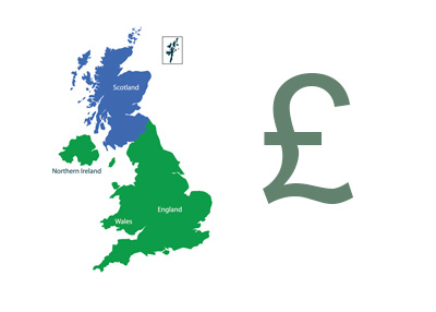 United Kingdom Map - Scotland - British Pound Currency Symbol