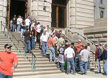 -- building trades unemployment insurance rally --