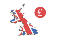 United Kingdom Map in 3d next to the GBP symbol