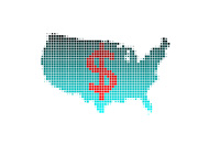 The United States Debt Growth - Illustration - Map