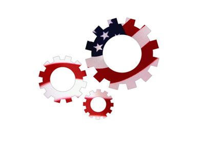 U.S. Employment Cogs / Gears - Illustration Concept - American Flag