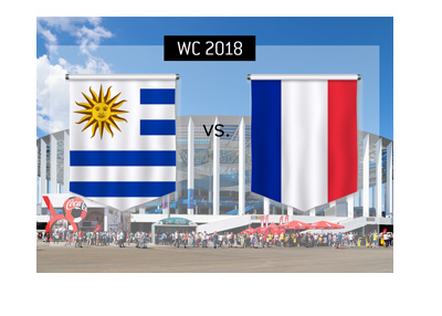 Uruguay vs. France at the Nizhny Novgorod Stadium - World Cup 2018 - Quarter-finals.  Bet on it!