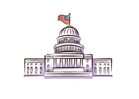 Illustration of Capitol Hill - Meeting place of the United State Congress - Washington D.C.