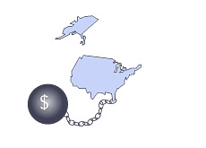 -- U.S. Debt ball and a chain --