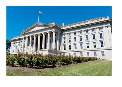 The United States Treasury Building - Sunny Day - Garden
