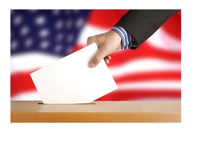 Elections ballot - United States of America flag in the background