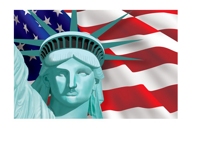 United States Immigration Reform - Statue of Liberty in front of Flag - Concept / Illustration