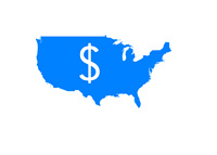 Map of United States of America in Blue Color - Dollar Sign on Top - Illustration